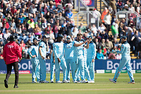 Liam Plunkett (England) celebrates the wicket of Mushfiqur Rahim (Bangladesh) during England vs Bangladesh, ICC World Cup Cricket at Sophia Gardens Cardiff on 8th June 2019