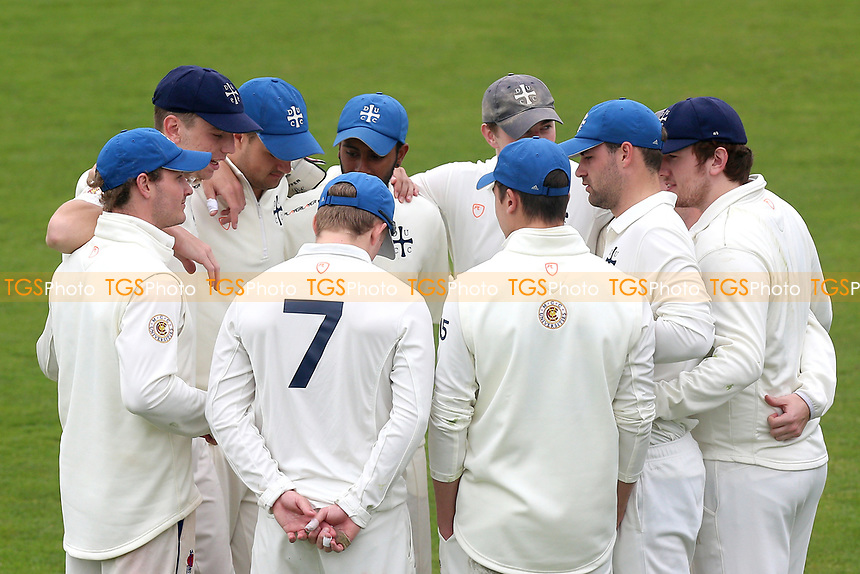 Durham players huddle during Essex CCC vs Durham MCCU, English MCC University Match Cricket at The Cloudfm County Ground on 4th April 2017