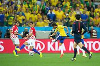 Neymar of Brazil scores a goal to make it 1-1