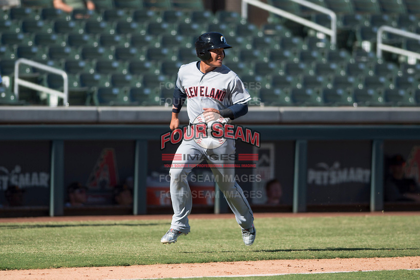 Glendale Desert Dogs third baseman Yu Chang (9), of the Cleveland Indians organization, runs home during an Arizona Fall League game against the Salt River Rafters at Salt River Fields at Talking Stick on October 31, 2018 in Scottsdale, Arizona. Glendale defeated Salt River 12-6 in extra innings. (Zachary Lucy/Four Seam Images)