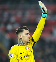 Manchester City's Ederson<br /> <br /> Photographer Alex Dodd/CameraSport<br /> <br /> The Premier League - Liverpool v Manchester City - Sunday 14th January 2018 - Anfield - Liverpool<br /> <br /> World Copyright &copy; 2018 CameraSport. All rights reserved. 43 Linden Ave. Countesthorpe. Leicester. England. LE8 5PG - Tel: +44 (0) 116 277 4147 - admin@camerasport.com - www.camerasport.com