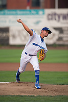 Ogden Raptors starting pitcher Orlandy Navarro (23) delivers a pitch during a Pioneer League game against the Great Falls Voyagers at Lindquist Field on August 23, 2018 in Ogden, Utah. The Ogden Raptors defeated the Great Falls Voyagers by a score of 8-7. (Zachary Lucy/Four Seam Images)