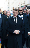 November 13 2017, PARIS FRANCE<br /> the President of France Emmanuel Macron<br /> honors the victims of the 13 november 2015<br /> in the scenes of attacks. the President, his<br /> wife Brigitte Macron and Anne Hidalgo the<br /> Mayor of Paris move towards the Restaurant la Bonne Bière. # HOMMAGE AUX VICTIMES DES ATTENTATS DU 13 NOVEMBRE 2015
