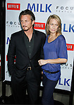 """BEVERLY HILLS, CA. - November 13: Actor Sean Penn and actress Sean Penn and Robin Wright Penn arrive at the Los Angeles Premiere of """"Milk"""" at the Academy of Motion Pictures Arts and Sciences on November 13, 2008 in Beverly Hills, California."""
