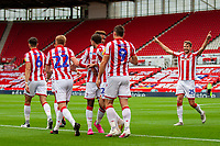 4th July 2020; Bet365 Stadium, Stoke, Staffordshire, England; English Championship Football, Stoke City versus Barnsley; Stoke celebrate the goal by Sam Vokes in the 8th minuite