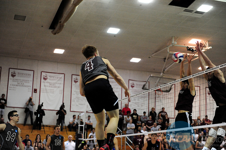 26 Apr 2015:  Stevens Institute of Technology Duck's David Evans (4) in action during the Division III Men's Volleyball Championship at Canavan Arena in Hoboken, NJ. Stevens Institute defeated Springfield College 3-0 to win the national title.  Porter Binks/NCAA Photos