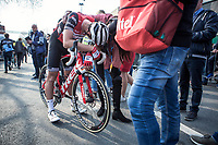 Edward Theuns (BEL/Trek Segafredo), post race, exhausted<br /> <br /> <br /> 82nd Gent – Wevelgem in Flanders Fields 2019 (1.UWT)<br /> Deinze – Wevelgem: 251,5km<br /> ©kramon
