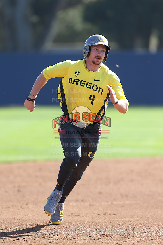 Kyle Garlick #4 of the Oregon Ducks runs the bases during a game against the Loyola Marymount Lions at Page Stadium on February 23, 2014 in Los Angeles, California. Oregon defeated Loyola, 4-3. (Larry Goren/Four Seam Images)