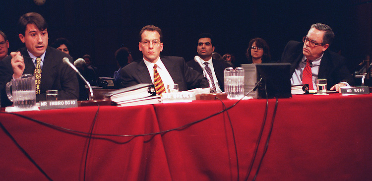 10/29/97.CAMPAIGN FINANCE HEARINGS:Michael X. Imbroscio associate counsel to the President,Lanny A. Breuer special counsel to the President and Charles Ruff chief white house counsel testifies during the campaign finance hearings on alleged campaign finance irregularities during the 1996 campaign..CONGRESSIONAL QUARTERLY PHOTO BY DOUGLAS GRAHAM