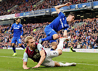Burnley's Charlie Taylor goes down following a tackle by Everton's Michael Keane<br /> <br /> Photographer Rich Linley/CameraSport<br /> <br /> The Premier League - Burnley v Everton - Saturday 5th October 2019 - Turf Moor - Burnley<br /> <br /> World Copyright © 2019 CameraSport. All rights reserved. 43 Linden Ave. Countesthorpe. Leicester. England. LE8 5PG - Tel: +44 (0) 116 277 4147 - admin@camerasport.com - www.camerasport.com