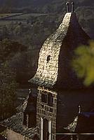 Europe/France/Auvergne/12/Aveyron/Env. de Laguiole: Ferme - Détail toit de lauze ou lause