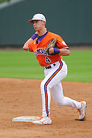 Infielder Eli White (4) of the Clemson Tigers prior to a fall scrimmage against College Lafleche from Canada on October 17, 2013, at Fluor Field at the West End in Greenville, South Carolina. (Tom Priddy/Four Seam Images)