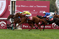 October 07, 2018, Longchamp, FRANCE - Enable with Frankie Dettori up winning the Qatar Prix de l'Arc de Triomphe (Gr. I) at  ParisLongchamp Race Course  [Copyright (c) Sandra Scherning/Eclipse Sportswire)]