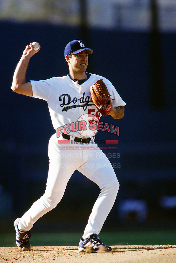 Ismael Valdez of the Los Angeles Dodgers during a game at Dodger Stadium circa 1999 in Los Angeles, California. (Larry Goren/Four Seam Images)