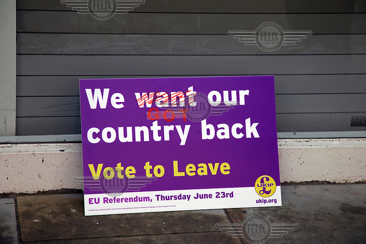 A UKIP (United Kingdom Independence Party) placard, changed to represent the success of the 'leave' vote in the EU referendum. <br /> The town of Boston had the country's highest proportion of 'leave' votes cast in the EU referendum with almost 76 percent of ballots cast for Brexit. Lincolnshire has, in recent years, seen an influx of EU workers drawn to the area's agricultural industry. The 2011 census found about 13 percent of Boston's residents were born in Eastern Europe and migrated to the UK since 2004.