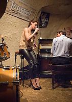 Jean-Baptiste Franc (piano), Gabrielle Jeanselme (vocal) and Thomas Racine (batterie) at Le Petit Journal, St Michel, Paris, Monday 16th March 2015.
