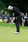 Bradley Dredge (WAL) takes his putt on the 1st green during the Final Day of the BMW PGA Championship Championship at, Wentworth Club, Surrey, England, 29th May 2011. (Photo Eoin Clarke/Golffile 2011)