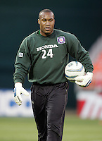 9 April 2005.  Chicago Fire goalkeeper Zach Thornton (24) warms up at RFK Stadium in Washington, DC.