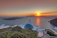 Sunset from Firostefani in Santorini, Greece
