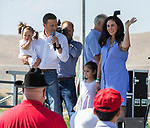 Nevada Attorney General Adam P. Laxalt introduces his family during the Basque Fry at the Corley Ranch  in Gardnerville, Nevada on Saturday, August 26, 2017.