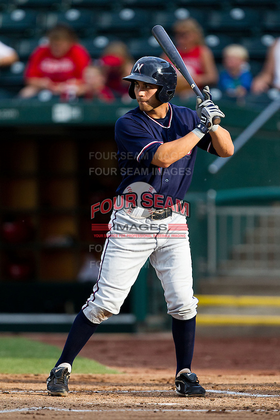 Anthony Seratelli (2) of the Northwest Arkansas Naturals at bat during a game against the Springfield Cardinals at Hammons Field on July 31, 2011 in Springfield, Missouri. Northwest Arkansas defeated Springfield 9-1. (David Welker / Four Seam Images)