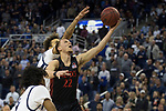 San Diego State guard Malachi Flynn (22) lays the ball up      against Nevada during the second half of a basketball game played at Lawlor Events Center in Reno, Nev., Saturday, Feb. 29, 2020. (AP Photo/Tom R. Smedes)