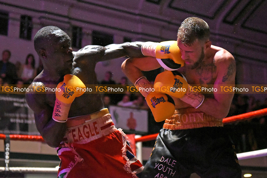 John O'Donnell (black/gold shorts) defeats Erick Ochieng during a Boxing Show at York Hall on 18th March 2017