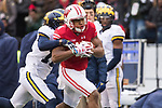 Wisconsin Badgers wide receiver A.J. Taylor (4) scores a touchdown reception during an NCAA College Big Ten Conference football game against the Michigan Wolverines Saturday, November 18, 2017, in Madison, Wis. The Badgers won 24-10. (Photo by David Stluka)