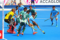 Pardeep Mor of India makes a defensive clearance during the Hockey World League Semi-Final match between Pakistan and India at the Olympic Park, London, England on 18 June 2017. Photo by Steve McCarthy.