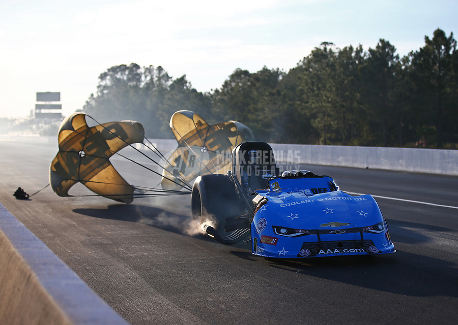 Mar 16, 2018; Gainesville, FL, USA; NHRA funny car driver John Force blows the body off his race car after an explosion during qualifying for the Gatornationals at Gainesville Raceway. Mandatory Credit: Mark J. Rebilas-USA TODAY Sports