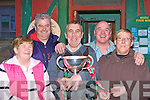 St Michaels/Foilmore fans celebrating the arrival of the All-Ireland Intermediate cup to Shebeens bar, Caherciveen on Monday was Goretti O'Shea, Sean Coffey, John O'Shea, Philip O'Sullivan and Eileen Harty