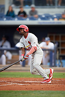 Palm Beach Cardinals left fielder Randy Arozarena (22) at bat during a game against the Charlotte Stone Crabs on April 11, 2017 at Charlotte Sports Park in Port Charlotte, Florida.  Palm Beach defeated Charlotte 12-6.  (Mike Janes/Four Seam Images)
