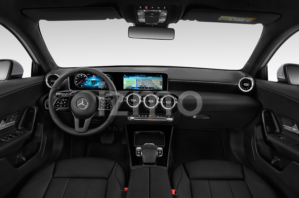 Stock photo of straight dashboard view of a 2019 Mercedes Benz A Class Progressive 5 Door Hatchback