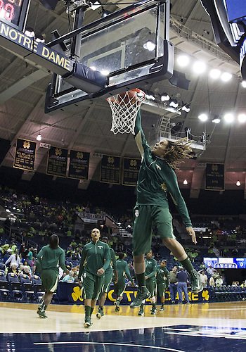 December 05, 2012:  Baylor center Brittney Griner (42) dunks the ball during NCAA Women's Basketball pregame warmups between the Notre Dame Fighting Irish and the Baylor Bears at Purcell Pavilion at the Joyce Center in South Bend, Indiana.  Baylor defeated Notre Dame 73-61.