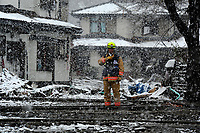 Rodney Vaughan from the Fairfax County, Va., Task Force 1 Urban Search and Rescue searches structures and debris on March 16, 2011 in Kamaishi, Japan. A 9.0 earthquake hit Japan on March 11, 2011 that caused a tsunami that destroyed anything in its path.