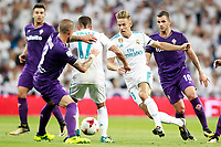 Real Madrid's Lucas Vazquez (c-l) and Marcos Llorente (c-r) and ACF Fiorentina's Cristiano Biraghi (l) and Valentin Eysseric during Santiago Bernabeu Trophy. August 23,2017. (ALTERPHOTOS/Acero) /NortePhoto.com