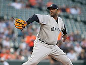 New York Yankees starting pitcher CC Sabathia (52) works in the first inning against the Baltimore Orioles at Oriole Park at Camden Yards in Baltimore, MD on Wednesday, May 22, 2019.<br /> Credit: Ron Sachs / CNP<br /> (RESTRICTION: NO New York or New Jersey Newspapers or newspapers within a 75 mile radius of New York City)