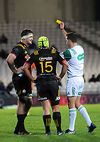 Michael Allardice is yellow carded during the Super Rugby match between the Chiefs and Jaguares at Rotorua International Stadum in Rotorua, New Zealand on Friday, 4 May 2018. Photo: Dave Lintott / lintottphoto.co.nz