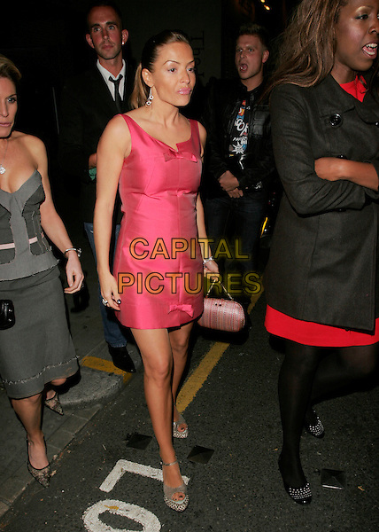 ELEN RIVAS .Outside the Quentin Tarantino Party, The Collection, London, England, September 17th 2007..full length pink dress bows grey snakeskin platform shoes .CAP/AH.©Adam Houghton/Capital Pictures.