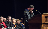 Spanish and French studies Professor Salvador Fernández, recipient of the Janosik-Sterling Award for Service.<br /> The class of 2021 are welcomed to Occidental College by trustees, faculty and staff in Thorne Hall on Aug. 29, 2017 during Oxy's 130th Convocation ceremony, a tradition that formally marks the start of the academic year and welcomes the new class.<br /> (Photo by Marc Campos, Occidental College Photographer)