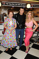 "Cheryl Baker, Ben Freeman and Heidi Range at the photocall for ""Happy Days The Musical"" at Ed's Easy Diner, Trocadero, London. 08/01/2014 Picture by: Steve Vas / Featureflash"