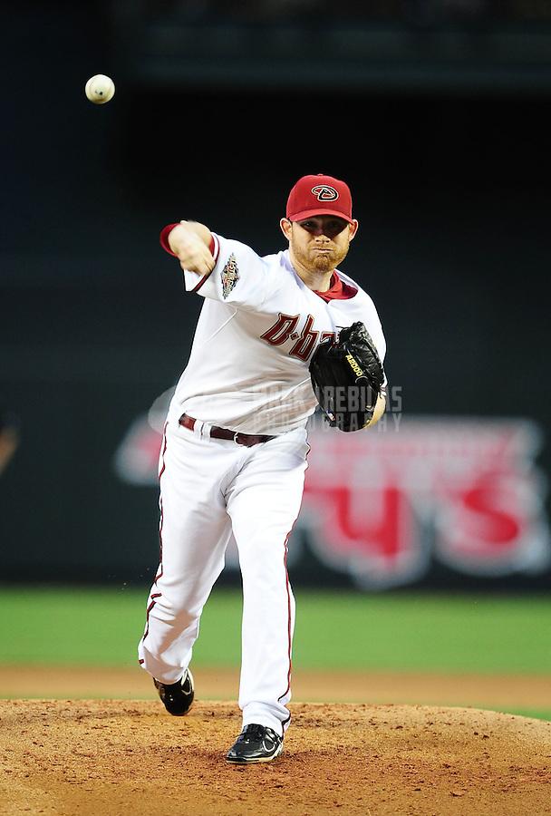 Apr. 25, 2011; Phoenix, AZ, USA; Arizona Diamondbacks pitcher Ian Kennedy throws in the first inning against the Philadelphia Phillies at Chase Field. Mandatory Credit: Mark J. Rebilas-