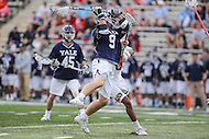 College Park, MD - February 25, 2017: Yale Bulldogs Lucas Cotler (9) attempts a shot during game between Yale and Maryland at  Capital One Field at Maryland Stadium in College Park, MD.  (Photo by Elliott Brown/Media Images International)