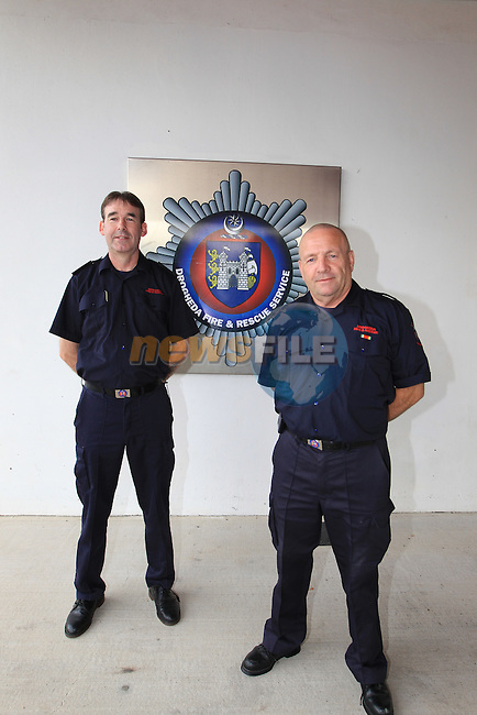 End  of and era, for Drogheda fire fighters with 62 years experience between them as they finish up there last duty watch as retained firefighters. RET Sub Officer Joe O'Connor (30 years retained fire fighter) and Ret FF Patrick Reilly (32 years retained fire fighter) finish off there last duty watch ahead of the introduction of the new fire service rostering system in Drogheda on Monday 3th September, which will see the retained fire fighters no longer being on duty in the fire station but being called in on alerters as and when needed..Picture: Fran Caffrey / www.newsfile.ie
