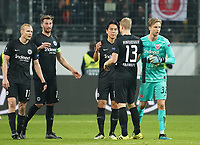 Siegesjubel Eintracht nach dem 2:1 - 24.10.2019:  Eintracht Frankfurt vs. Standard Lüttich, UEFA Europa League, Gruppenphase, Commerzbank Arena<br /> DISCLAIMER: DFL regulations prohibit any use of photographs as image sequences and/or quasi-video.