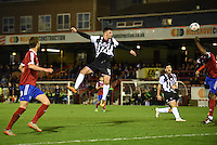 Padraig Amond of Grimsby Town heads for goal during the Vanarama National League match between Aldershot Town and Grimsby Town at the EBB Stadium, Aldershot, England on 5 April 2016. Photo by Paul Paxford / PRiME Media Images.