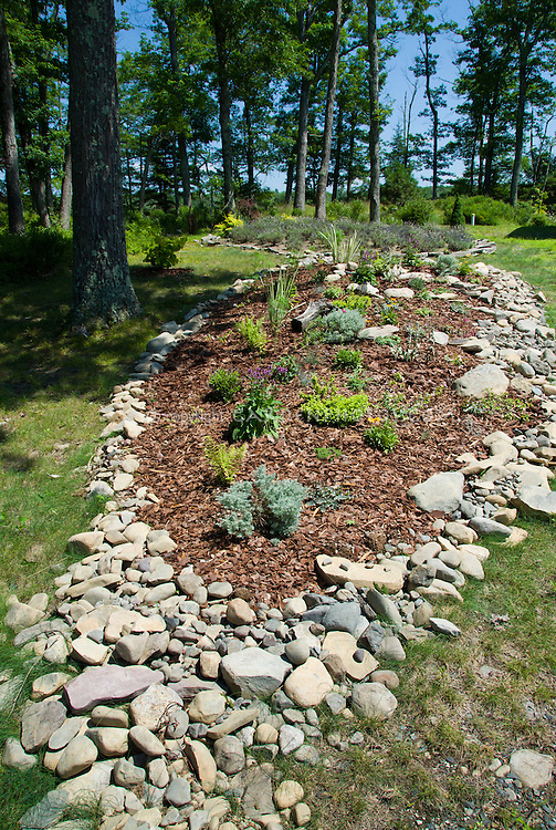 Garden Bed Mulched On Hillside Slope Bordered With Native Rocks And Stones  In Sunny Summer Spot