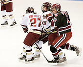 Lauren Wiedmeier (Boston College - 27), Stephanie Olchowski (Boston College - 28), Cori Bassett (Harvard - 18) - The Boston College Eagles defeated the Harvard University Crimson 1-0 to win the Beanpot on Tuesday, February 10, 2009, at Matthews Arena in Boston, Massachusetts.