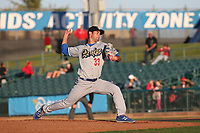 Mitchell White (33) of the Rancho Cucamonga Quakes pitches against the Lancaster JetHawks at The Hanger on April 28, 2017 in Lancaster, California. Lancaster defeated Rancho Cucamonga, 16-10. (Larry Goren/Four Seam Images)