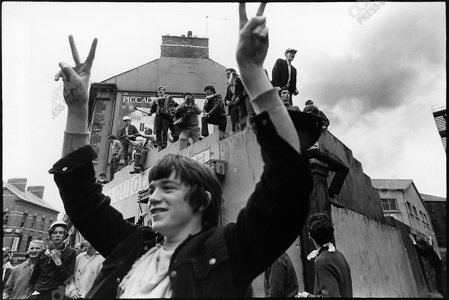 Catholic demonstration day after arrival of British army reinforcement, Londonderry, Northern Ireland, August 15, 1969